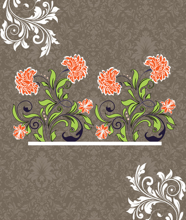 Vintage invitation card with ornate elegant retro abstract floral design, white red orange and yellow green flowers and leaves on gray and light brown background. Vector illustration. Illustration