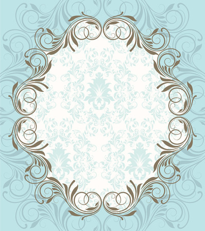 oblong: Vintage invitation card with ornate elegant retro abstract floral design, gray flowers and leaves on light blue background with oblong text label. Vector illustration.