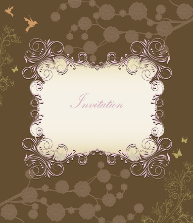 pink brown: Vintage invitation card with ornate elegant retro abstract floral design, pink brownish green and grayish light brown flowers and leaves on chocolate brown background with birds butterflies and plaque text label. Vector illustration.