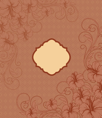 brownish: Vintage invitation card with ornate elegant retro abstract floral design, dark orange flowers and leaves on brownish orange background with yellow plaque text label. Vector illustration.