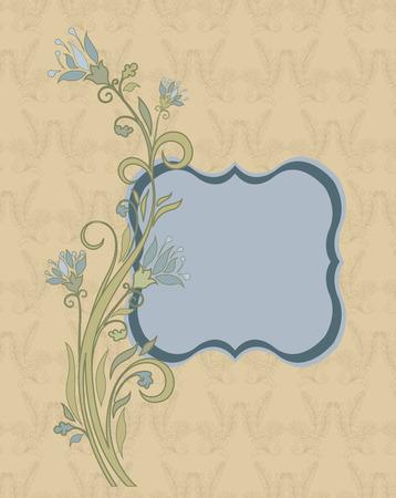 fondo elegante: Tarjeta de invitación de la vendimia con el diseño adornado elegante retro abstracto floral, luz flores grises cadete azul y y hojas de color verde sobre fondo amarillo pálido con etiqueta de texto de la placa. Ilustración del vector. Vectores