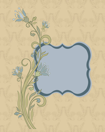 cadet blue: Vintage invitation card with ornate elegant retro abstract floral design, light blue and cadet gray flowers and light green leaves on pale yellow background with plaque text label. Vector illustration. Illustration