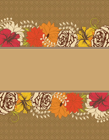 Vintage invitation card with ornate elegant retro abstract floral design, multi-colored flowers and leaves on light brown background with ribbon text label. Vector illustration. Illustration