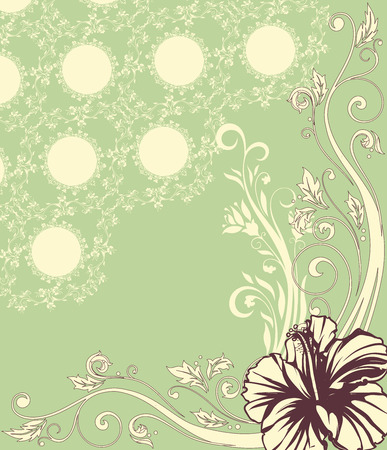 Vintage invitation card with ornate elegant retro abstract floral design, brown and beige flowers and leaves on light green background with text label. Vector illustration. Illustration