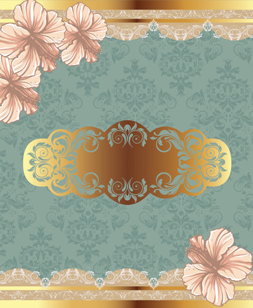 Vintage invitation card with ornate elegant retro abstract floral design, peach and yellow gold flowers and leaves on laurel green background with text label. Vector illustration.