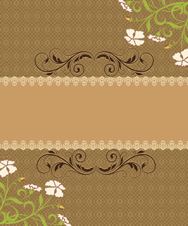 brownish: Vintage invitation card with ornate elegant retro abstract floral design, beige flowers and green and brown leaves on light brown background with brownish orange ribbon text label. Vector illustration. Illustration