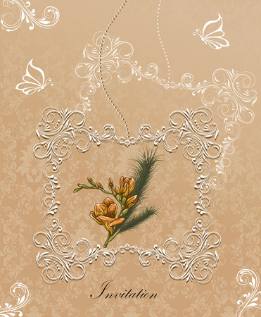 Vintage invitation card with ornate elegant retro abstract floral design, white and yellow orange flowers and leaves on beige background with frame border and text label. Vector illustration.