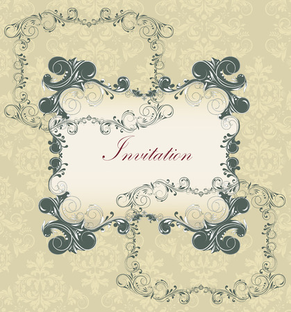 dark beige: Vintage invitation card with ornate elegant retro abstract floral design, dark gray flowers and leaves on beige background with plaque text label. Vector illustration.
