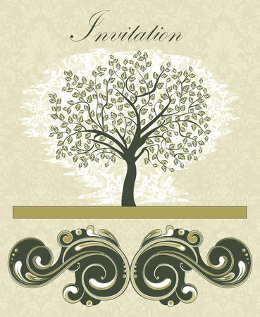 dark beige: Vintage invitation card with ornate elegant retro abstract floral tree design, tree with dark green leaves on beige background with text label. Vector illustration. Illustration