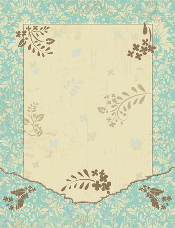 classical: Vintage invitation card with ornate elegant retro abstract floral design, gray and pale yellow flowers and leaves on light teal blue background with frame border and text label. Vector illustration.