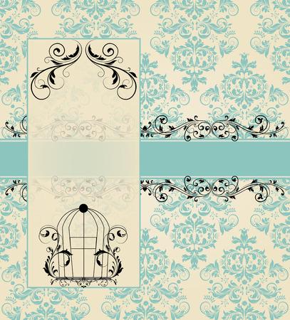 Vintage blue damask invitation card