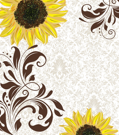 royal wedding: Vintage invitation card with ornate elegant retro abstract floral design, yellow orange and brown flowers and leaves on light gray background with text label. Vector illustration. Illustration
