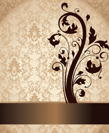 royal wedding: Vintage invitation card with ornate elegant retro abstract floral design, brown flowers and leaves on light brown and gold background with ribbon text label. Vector illustration.