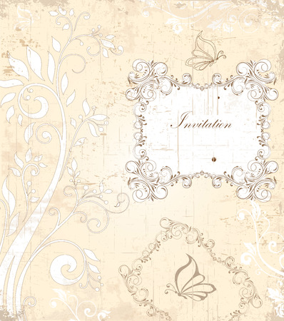 scratch card: Vintage invitation card with ornate elegant retro abstract floral design, grayish brown flowers and leaves on scratch texture faded beige background with butterflies and plaque text label. Vector illustration.
