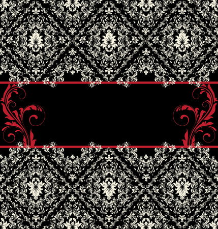 black and red: Invitation card on abstract floral background