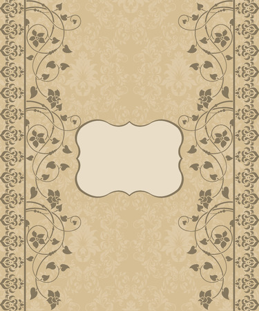 invitaci�n vintage: Tarjeta floral invitaci�n de la vendimia