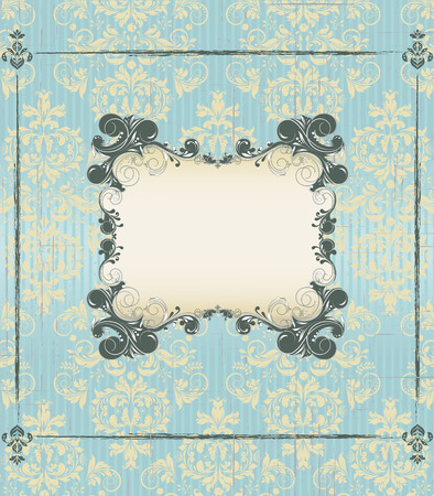 pale yellow: Vintage invitation card with ornate elegant retro abstract floral design, dark green and pale yellow flowers and leaves on scratch textured light blue background with frame border and plaque text label. Vector illustration. Illustration