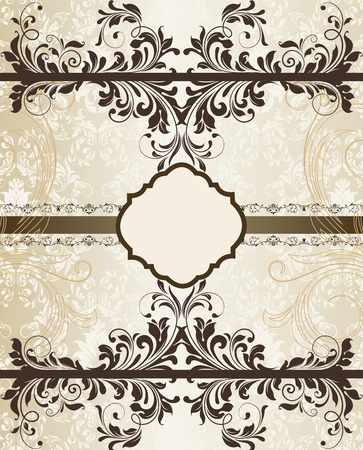 gold plaque: Vintage invitation card with ornate elegant retro abstract floral design, dark chocolate brown flowers and leaves on pale gray and beige background with gold ribbon and plaque text label. Vector illustration.