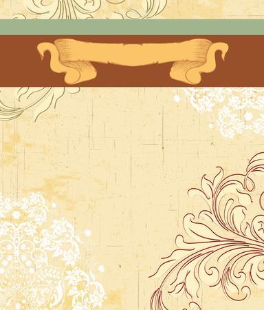 sash: Vintage invitation card with ornate elegant retro abstract floral design, beige and white flowers and leaves on scratch textured beige background with ribbon and sash text label. Vector illustration.