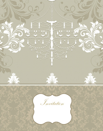 Vintage invitation card with ornate elegant retro abstract floral design, white gray and beige flowers and leaves on light gray background with chandelier divider and plaque text label. Vector illustration.