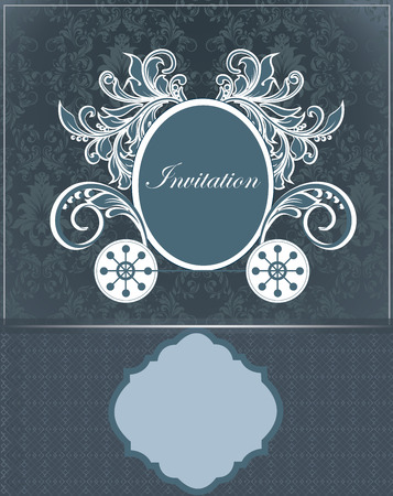 royal wedding: Vintage invitation card with ornate elegant retro abstract floral design, cadet blue flowers and leaves on dark gray and midnight blue background with frame borders and plaque text label. Vector illustration. Illustration