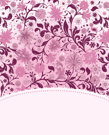 fuschia: Vintage invitation card with ornate elegant retro abstract floral design, fuschia and pink flowers and leaves on white background with text label. Vector illustration.