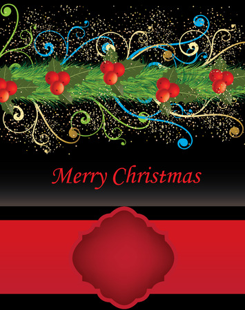 Vintage Christmas card with ornate elegant retro abstract floral design, red cherries and green ponsettia flowers and leaves and pine needles on black background with red ribbon and plaque text label. Vector illustration.