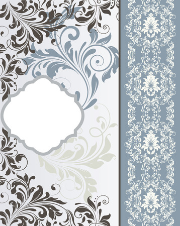 Vintage invitation card with ornate elegant retro abstract floral design, light gray dark gray and bluish gray flowers and leaves on pale blue and bluish gray background with divider and plaque text label. Vector illustration.