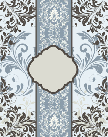 bluish: Vintage invitation card with ornate elegant retro abstract floral design, beige gray and dark gray flowers and leaves on pale blue and bluish gray background with ribbon and plaque text label. Vector illustration.