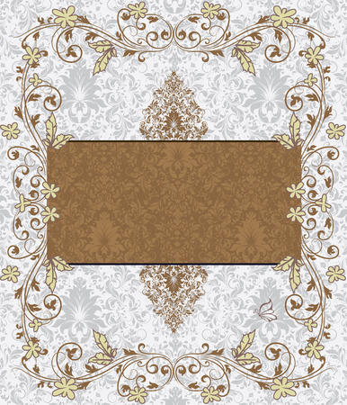 royal wedding: Vintage invitation card with ornate elegant retro abstract floral design, brown and light yellow green flowers and leaves on light gray background with card text label. Vector illustration.
