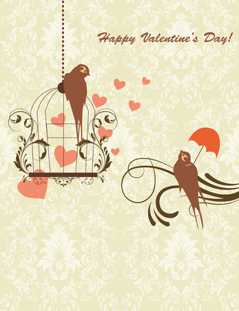 greenish: Vintage Valentine card with ornate elegant retro abstract floral design, greenish brown flowers and leaves on pale olive green background with birds hearts and text label. Vector illustration. Illustration