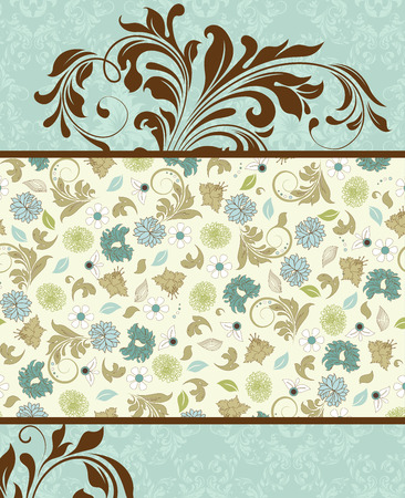 Vintage invitation card with ornate elegant retro abstract floral design, multi-colored flowers and leaves on pale green background with text label. Vector illustration.