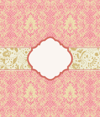 royal background: Vintage invitation card with ornate elegant retro abstract floral design, gold flowers and leaves on light coral pink mesh background with plaque text label. Vector illustration. Illustration