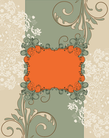 greenish: Vintage invitation card with ornate elegant retro abstract floral design, greenish gray beige and white flowers and leaves on greenish gray and beige background with frame text label. Vector illustration.