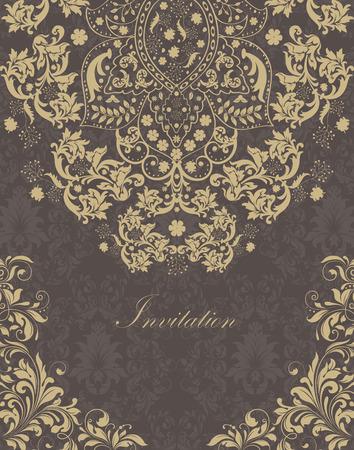 verschnörkelt: Jahrgang Einladungskarte mit verzierten eleganten Retro-abstrakten Blumenmuster, hellbraune Blüten und Blätter auf grau und dunkelgrauen Hintergrund mit Text-Label. Vektor-Illustration.