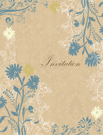 pale yellow: Vintage invitation card with ornate elegant retro abstract floral design, pale yellow dark yellow and grayish blue flowers and leaves on light brown background with text label. Vector illustration.