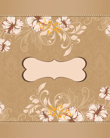 Vintage invitation card with ornate elegant retro abstract floral design, beige and light gray flowers and leaves on light brown background with plaque text label. Vector illustration.