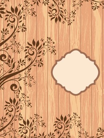 Vintage invitation card with ornate elegant retro abstract floral design, brown flowers and leaves on wood textured background with plaque text label. Vector illustration. Ilustração