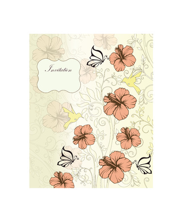 pale yellow: Vintage invitation card with ornate elegant retro abstract floral design, dark peach and pale yellow flowers and leaves on pale yellow background with butterflies birds and plaque text label. Vector illustration.