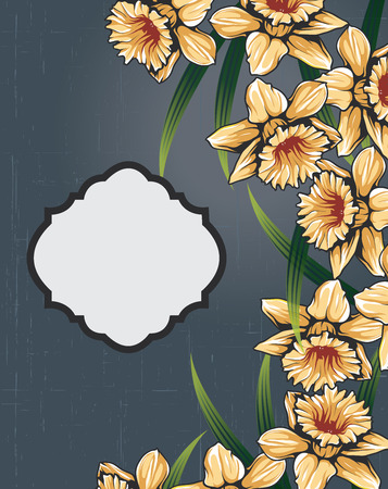 scratch card: Vintage invitation card with ornate elegant retro abstract floral design, yellow orange flowers and green leaves on scratch textured dark blue background with plaque text label. Vector illustration.
