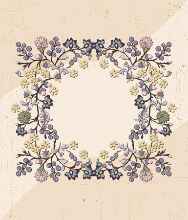 scratch card: Vintage invitation card with ornate elegant retro abstract floral design, multi-colored flowers and leaves on scratch textured beige background with text label. Vector illustration.