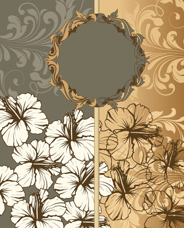 Vintage invitation card with ornate elegant retro abstract floral design, white gray and gold flowers and leaves on dark gray and gold background with divider and plaque text label. Vector illustration.