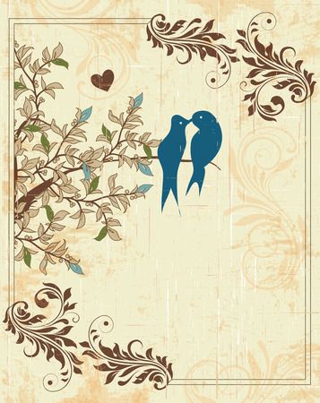 royal wedding: Vintage invitation card with ornate elegant retro abstract floral design, green light blue and brown flowers and leaves on scratch textured beige background with heart birds frame border and text label. Vector illustration.