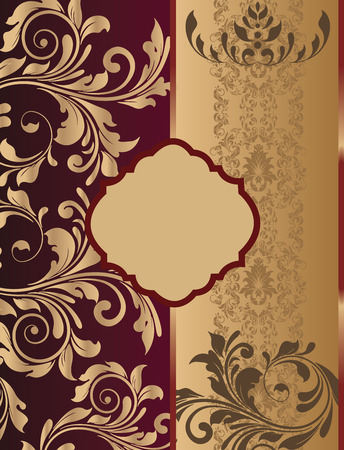 Vintage invitation card with ornate elegant retro abstract floral design, shiny gold flowers and leaves on dark red and light brown background with divider and plaque text label. Vector illustration.