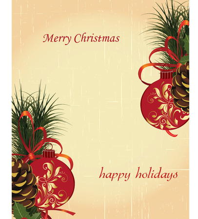 pine needles: Vintage Christmas card with ornate elegant retro abstract floral design, balls with red and gold flowers and leaves pine cones pine needles ribbon and ponsettia on scratch textured beige background with text label. Vector illustration.