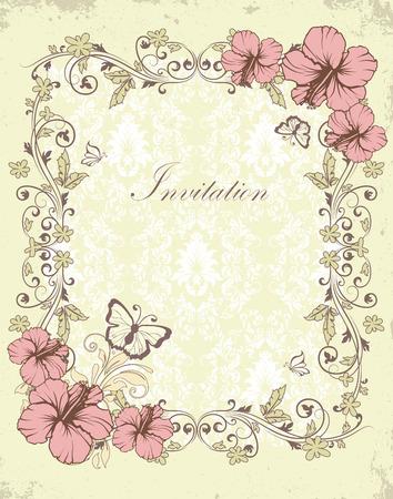 mariposas amarillas: Tarjeta de invitación de la vendimia con el diseño adornado elegante retro abstracto floral, flores rosadas y verdes oliva y hojas de textura de cero luz de fondo verde amarillo con las mariposas y la etiqueta de texto. Ilustración del vector. Vectores