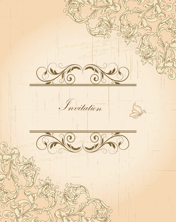 Vintage invitation card with ornate elegant retro abstract floral design, brown and beige flowers and leaves on scratch textured beige background with text label. Vector illustration.