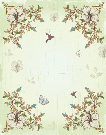 scratch card: Vintage invitation card with ornate elegant retro abstract floral design, beige green light blue and light brown flowers and leaves on scratch textured light green background with birds and butterflies and text label. Vector illustration.
