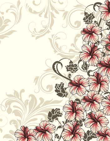 dark beige: Vintage invitation card with ornate elegant retro abstract floral design, pink and dark gray flowers and leaves on light gray and beige background with text label. Vector illustration. Illustration