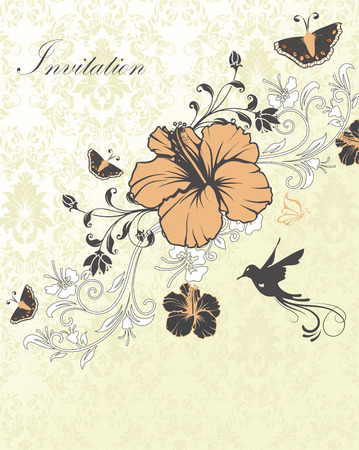 Vintage invitation card with ornate elegant retro abstract floral design, light orange gray and white flowers and leaves on pale green and white background with birds moths and text label. Vector illustration.